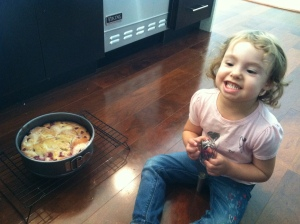 Liron with raspberry cake
